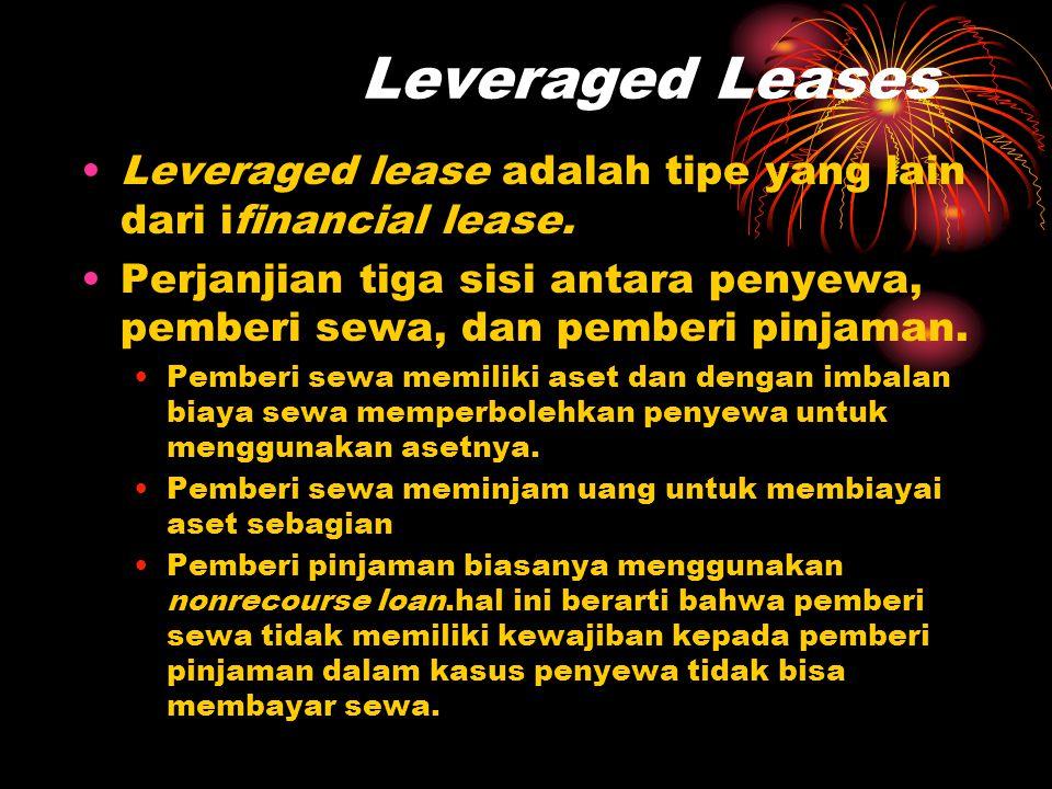 Leveraged Leases Leveraged lease adalah tipe yang lain dari ifinancial lease.