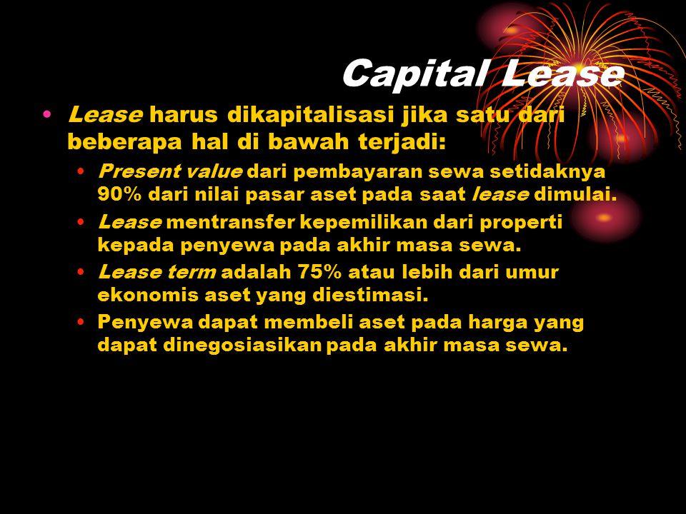 Capital Lease Lease harus dikapitalisasi jika satu dari beberapa hal di bawah terjadi: