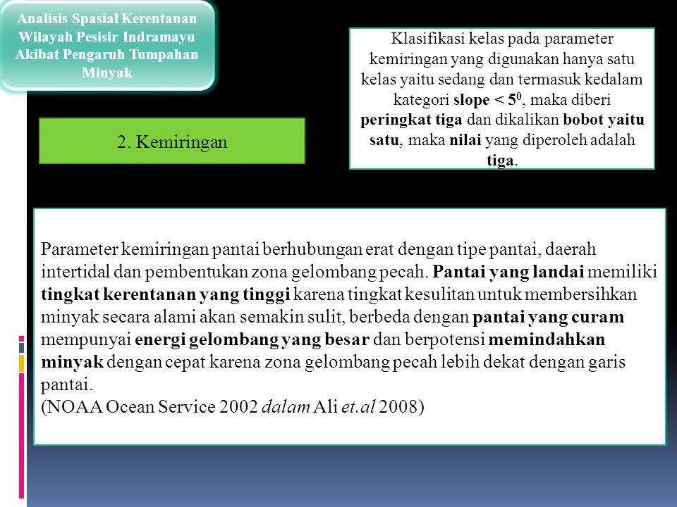 Analisis Spasial Kerentanan Wilayah Pesisir Indramayu Akibat Pengaruh Tumpahan Minyak