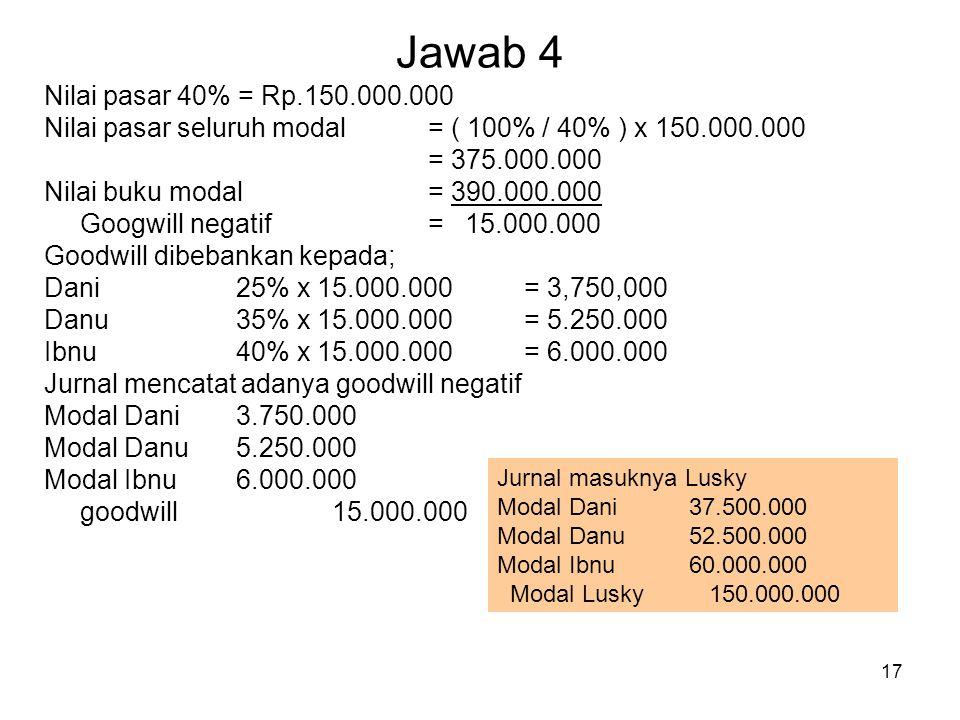 Jawab 4 Nilai pasar 40% = Rp.150.000.000. Nilai pasar seluruh modal = ( 100% / 40% ) x 150.000.000.