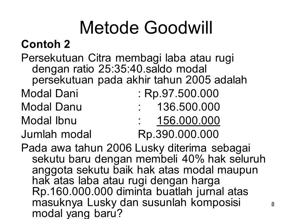 Metode Goodwill Contoh 2