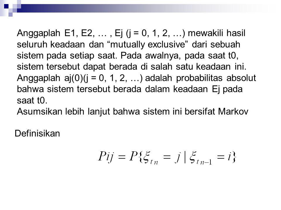 Anggaplah E1, E2, … , Ej (j = 0, 1, 2, …) mewakili hasil seluruh keadaan dan mutually exclusive dari sebuah sistem pada setiap saat. Pada awalnya, pada saat t0, sistem tersebut dapat berada di salah satu keadaan ini. Anggaplah aj(0)(j = 0, 1, 2, …) adalah probabilitas absolut bahwa sistem tersebut berada dalam keadaan Ej pada saat t0.
