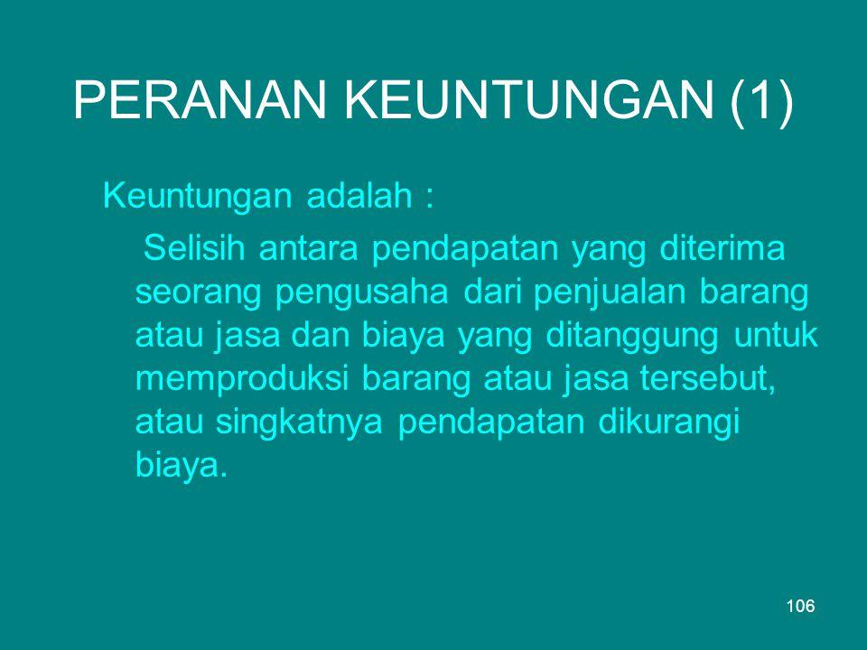 PERANAN KEUNTUNGAN (1) Keuntungan adalah :