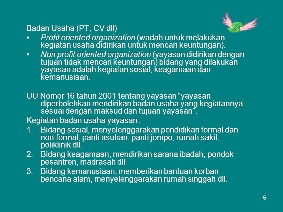 Badan Usaha (PT, CV dll) Profit oriented organization (wadah untuk melakukan kegiatan usaha didirikan untuk mencari keuntungan).