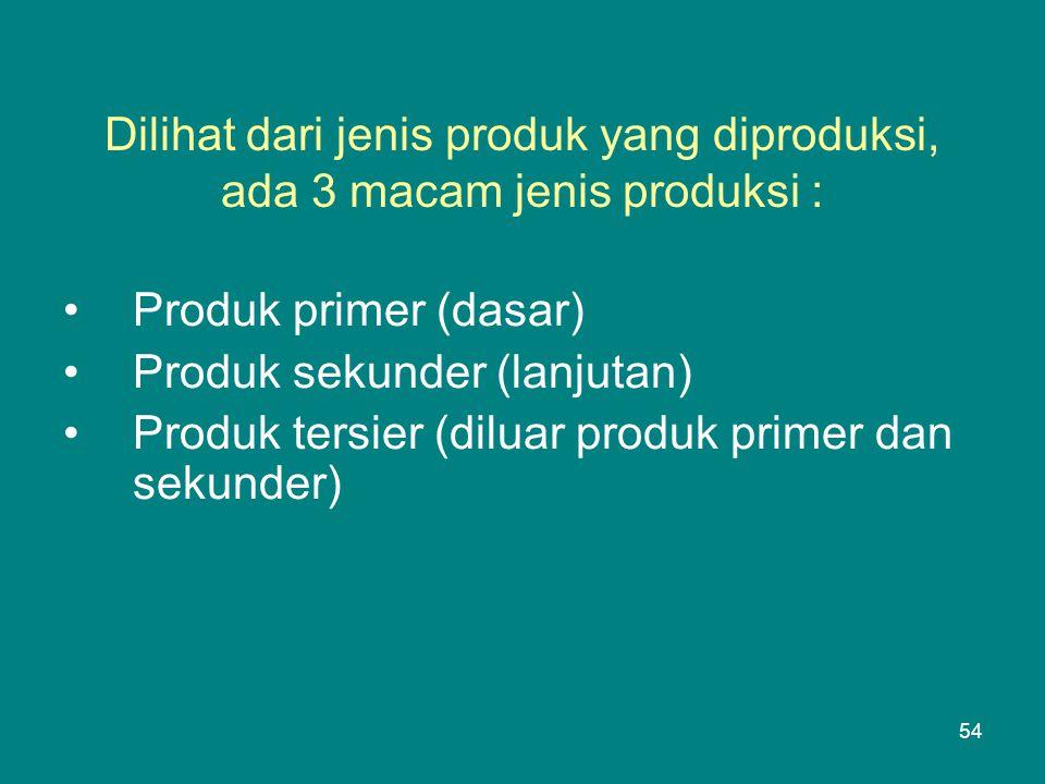 Dilihat dari jenis produk yang diproduksi, ada 3 macam jenis produksi :