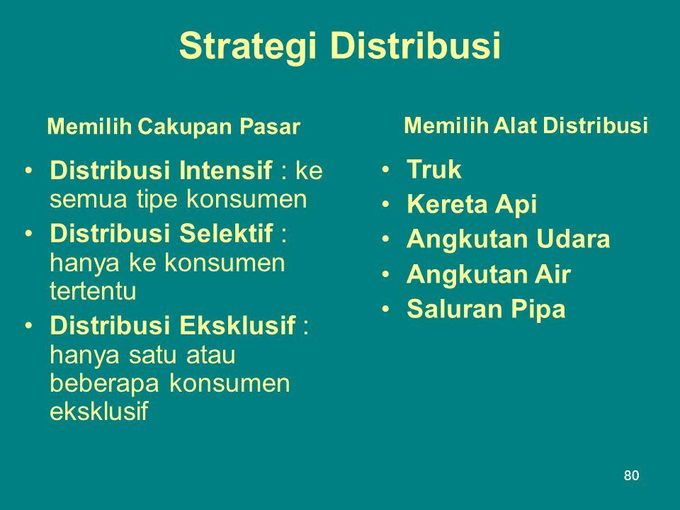 Strategi Distribusi Distribusi Intensif : ke semua tipe konsumen Truk