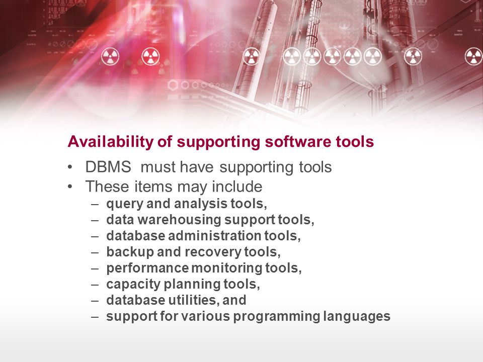 Availability of supporting software tools