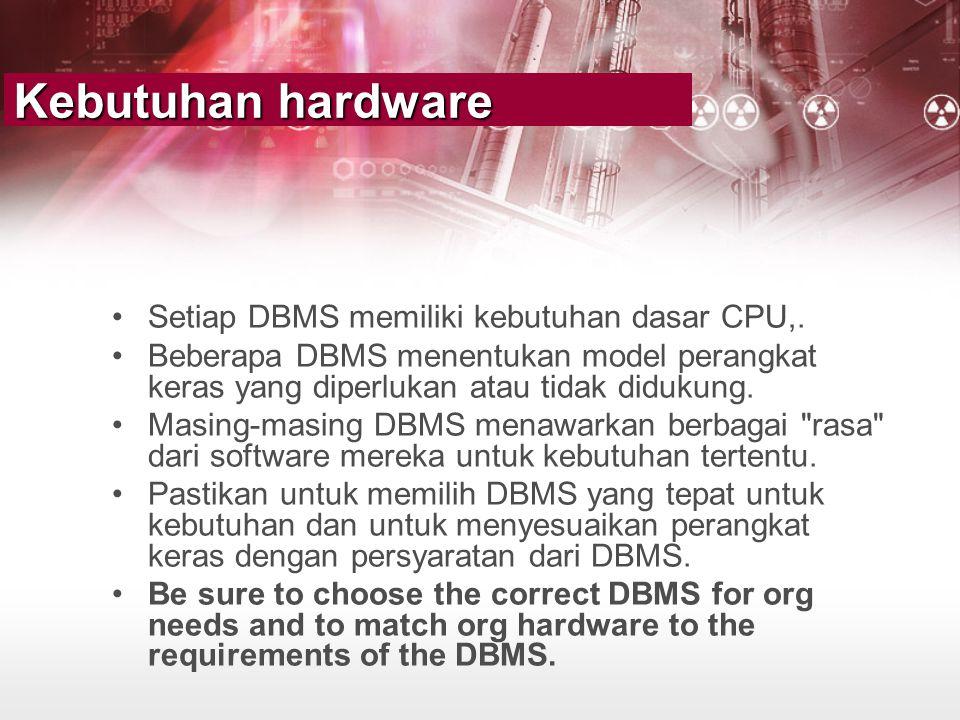 Kebutuhan hardware Setiap DBMS memiliki kebutuhan dasar CPU,.