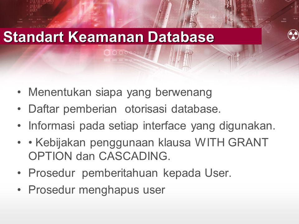 Standart Keamanan Database