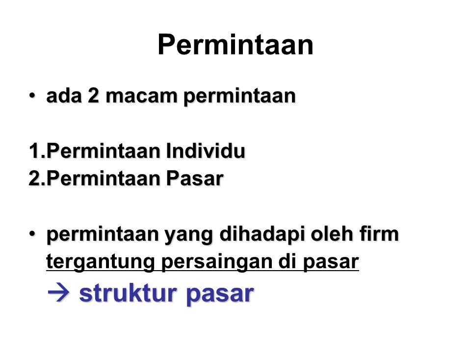 Permintaan ada 2 macam permintaan Permintaan Individu Permintaan Pasar