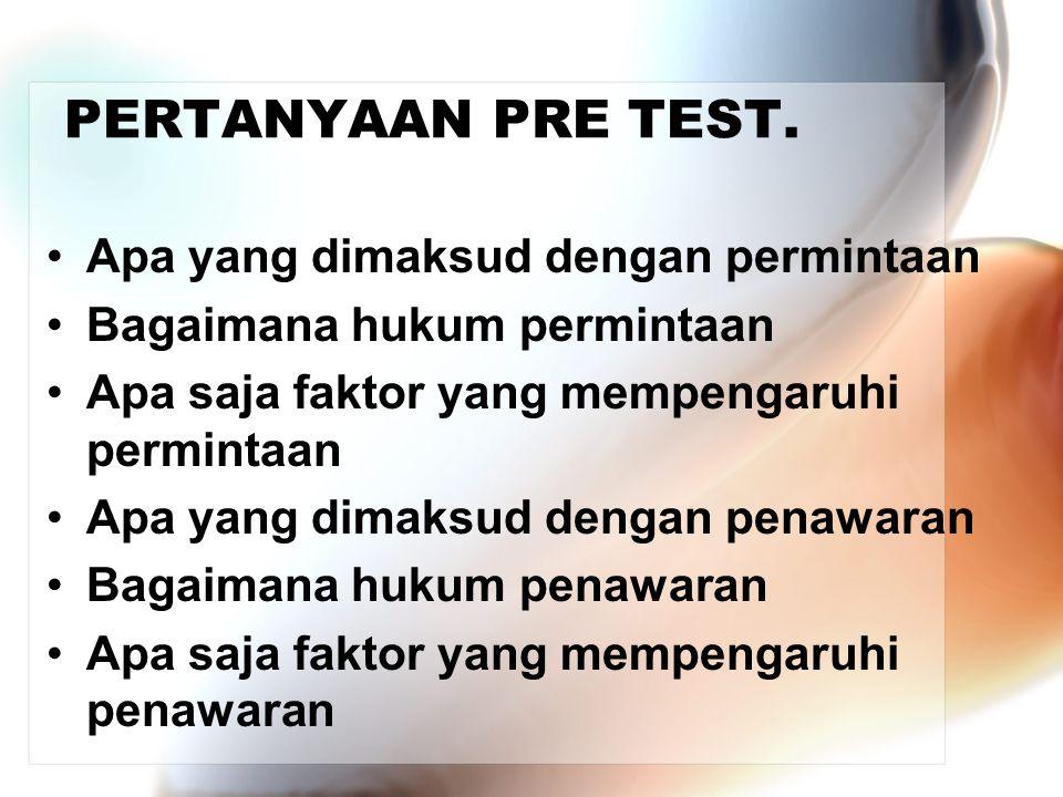 PERTANYAAN PRE TEST. Apa yang dimaksud dengan permintaan