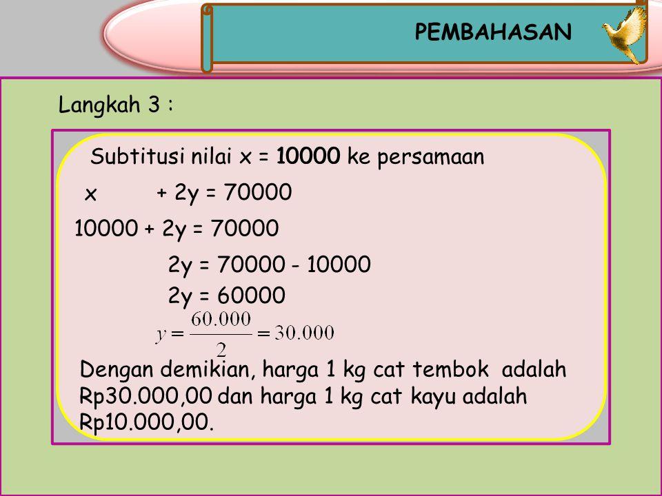 PEMBAHASAN Langkah 3 : Subtitusi nilai x = 10000 ke persamaan. 10000. x. + 2y = 70000. 10000 + 2y = 70000.