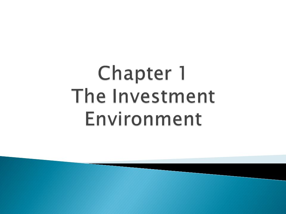 Chapter 1 The Investment Environment