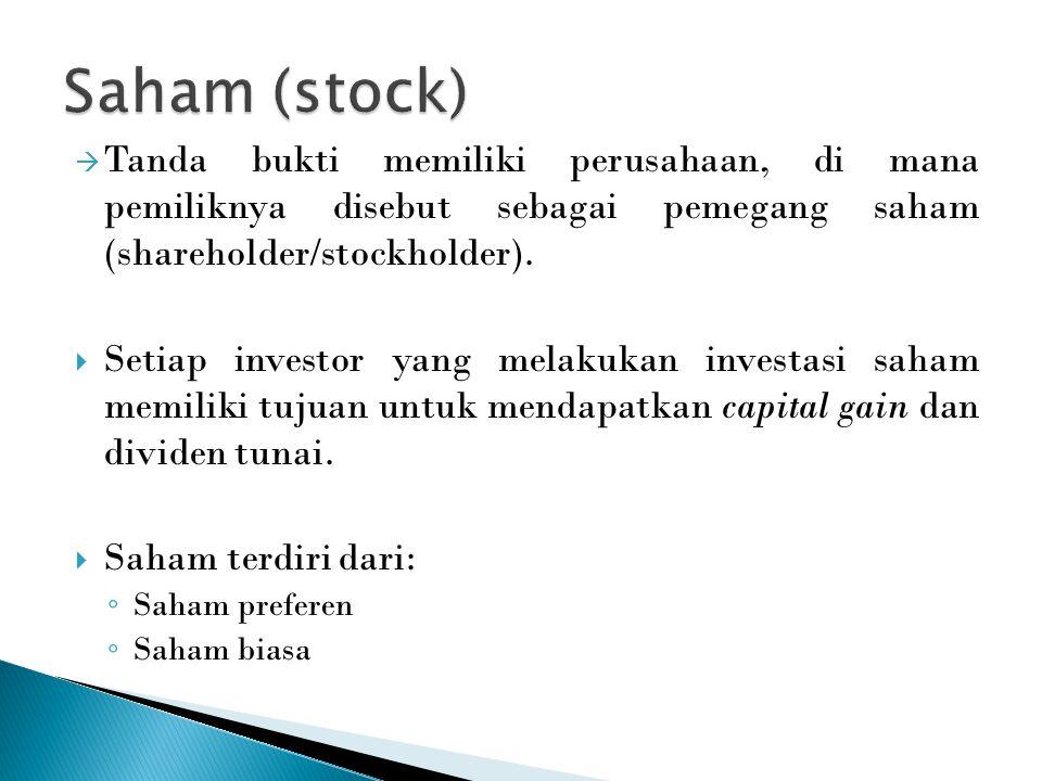 Saham (stock) Tanda bukti memiliki perusahaan, di mana pemiliknya disebut sebagai pemegang saham (shareholder/stockholder).