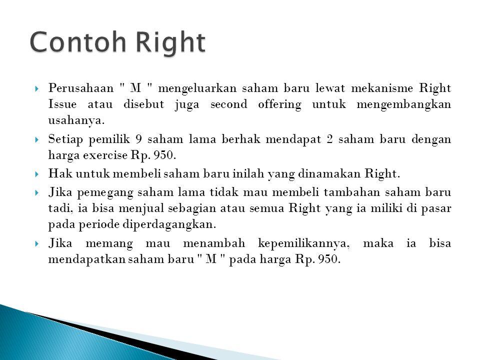 Contoh Right Perusahaan M mengeluarkan saham baru lewat mekanisme Right Issue atau disebut juga second offering untuk mengembangkan usahanya.
