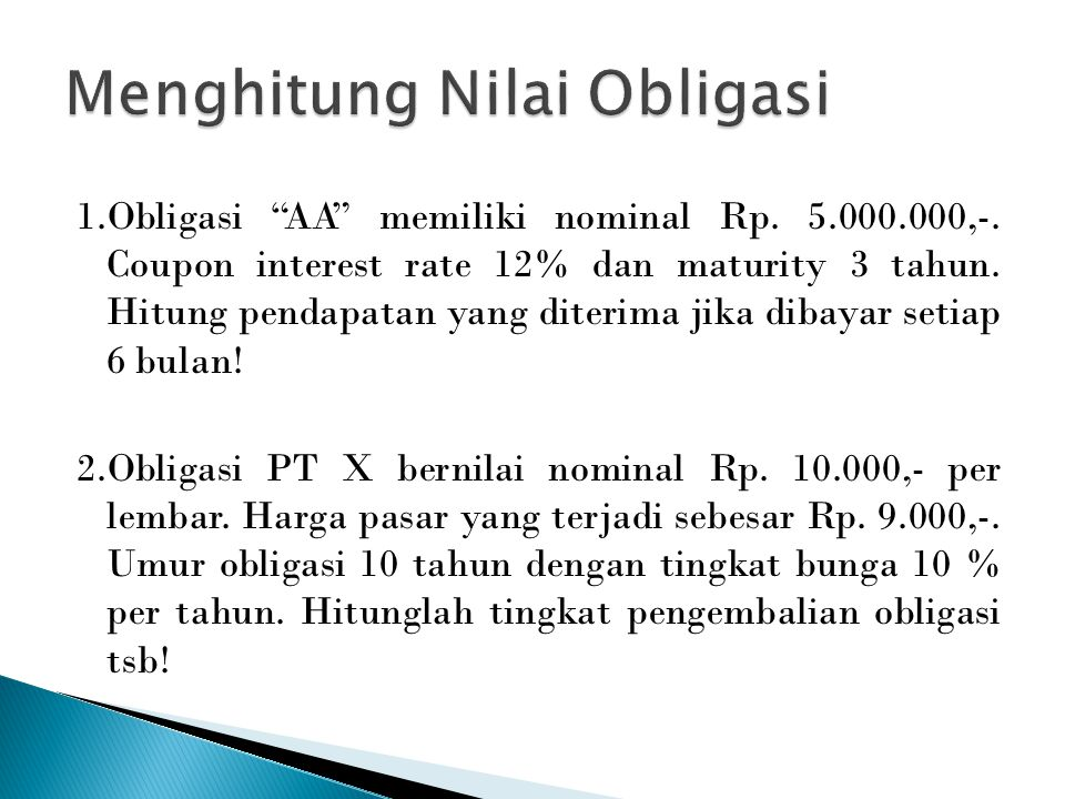 Menghitung Nilai Obligasi