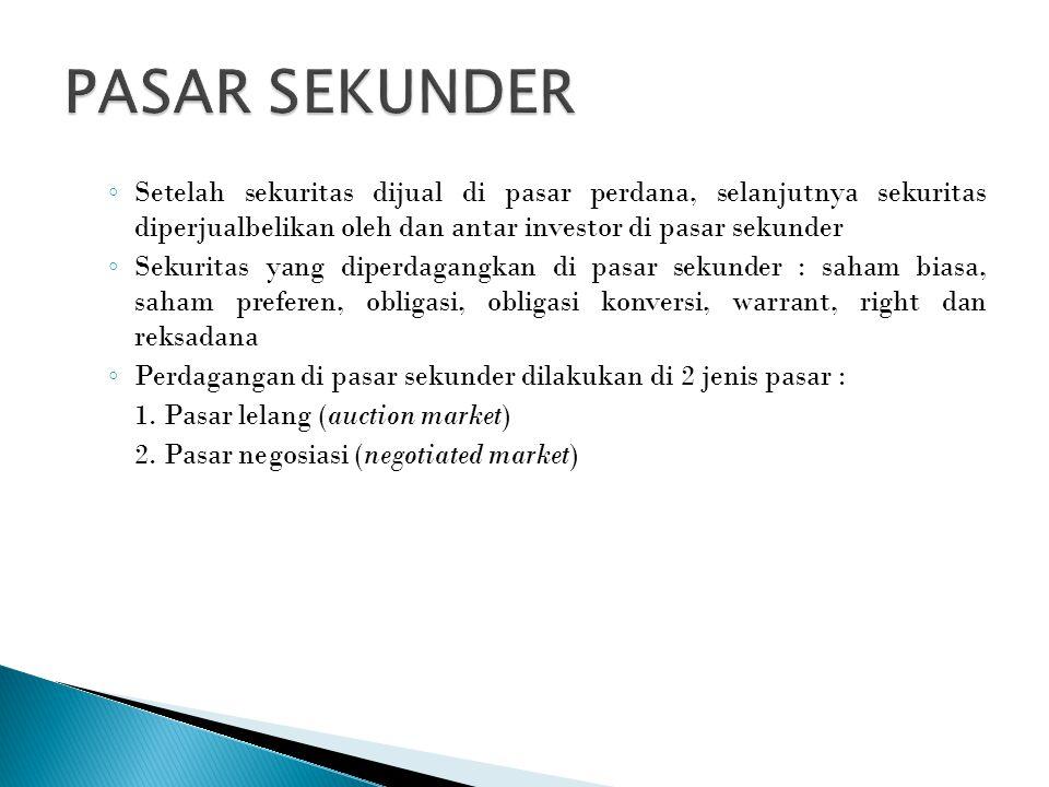 PASAR SEKUNDER Setelah sekuritas dijual di pasar perdana, selanjutnya sekuritas diperjualbelikan oleh dan antar investor di pasar sekunder.
