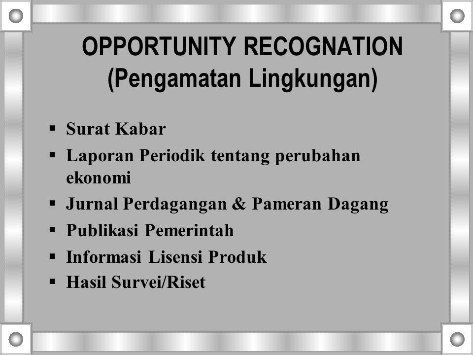 OPPORTUNITY RECOGNATION (Pengamatan Lingkungan)