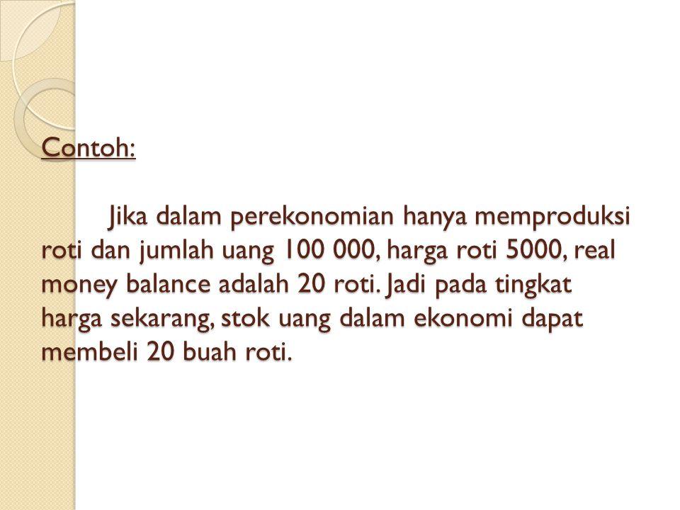 Contoh: Jika dalam perekonomian hanya memproduksi roti dan jumlah uang 100 000, harga roti 5000, real money balance adalah 20 roti.
