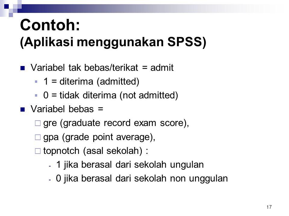 Contoh: (Aplikasi menggunakan SPSS)
