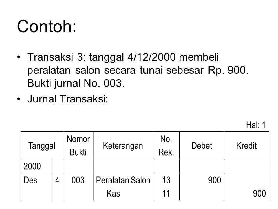 Contoh: Transaksi 3: tanggal 4/12/2000 membeli peralatan salon secara tunai sebesar Rp. 900. Bukti jurnal No. 003.