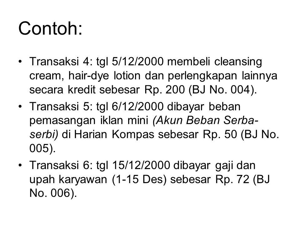 Contoh: Transaksi 4: tgl 5/12/2000 membeli cleansing cream, hair-dye lotion dan perlengkapan lainnya secara kredit sebesar Rp. 200 (BJ No. 004).