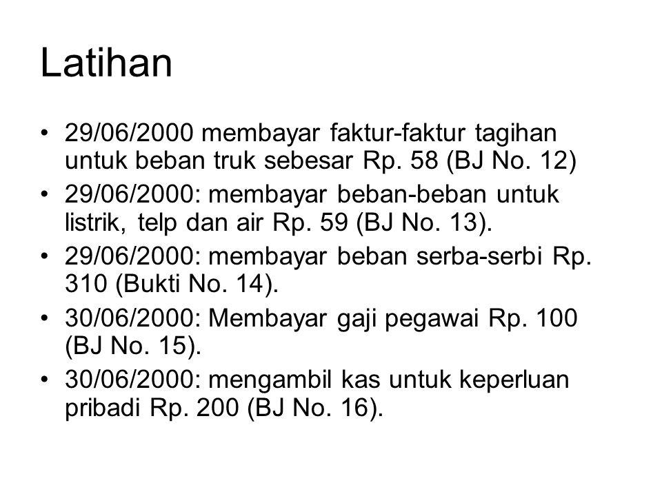 Latihan 29/06/2000 membayar faktur-faktur tagihan untuk beban truk sebesar Rp. 58 (BJ No. 12)