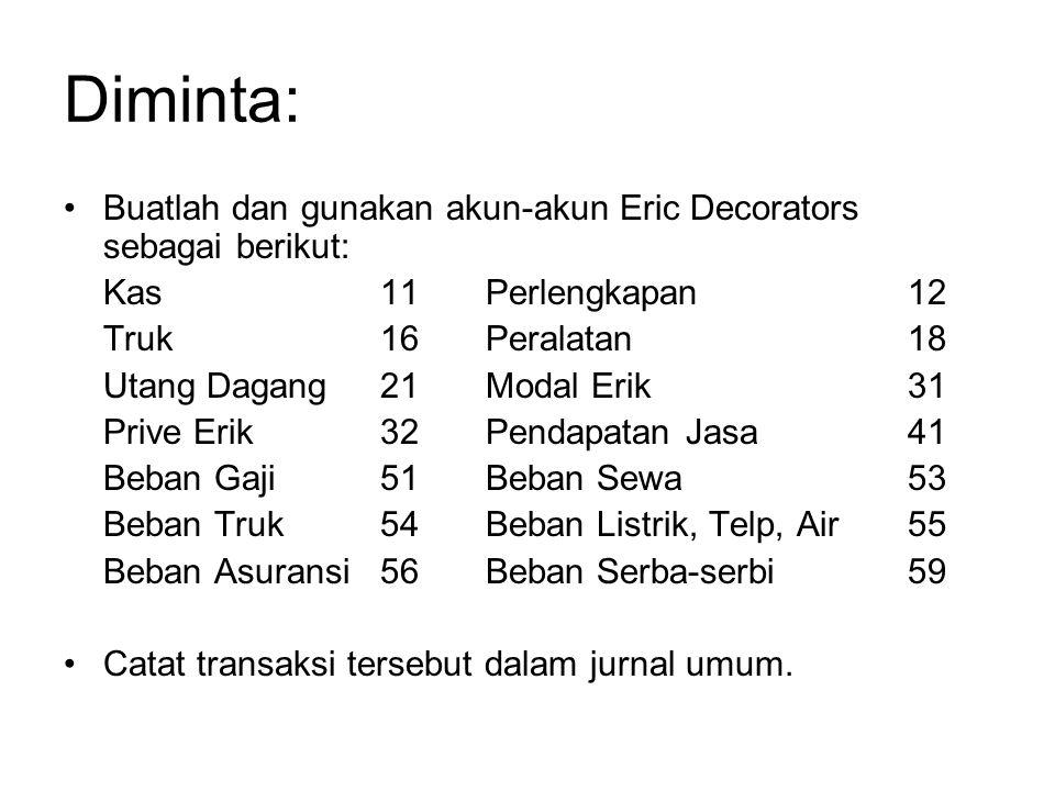 Diminta: Buatlah dan gunakan akun-akun Eric Decorators sebagai berikut: Kas 11 Perlengkapan 12.