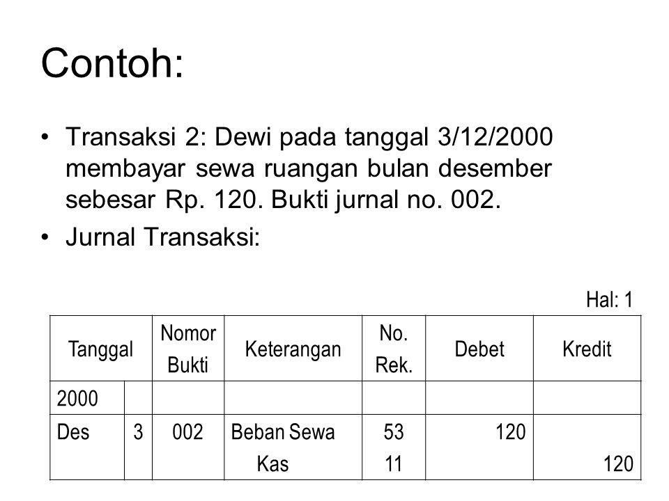 Contoh: Transaksi 2: Dewi pada tanggal 3/12/2000 membayar sewa ruangan bulan desember sebesar Rp. 120. Bukti jurnal no. 002.