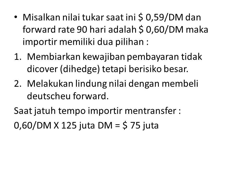 Misalkan nilai tukar saat ini $ 0,59/DM dan forward rate 90 hari adalah $ 0,60/DM maka importir memiliki dua pilihan :