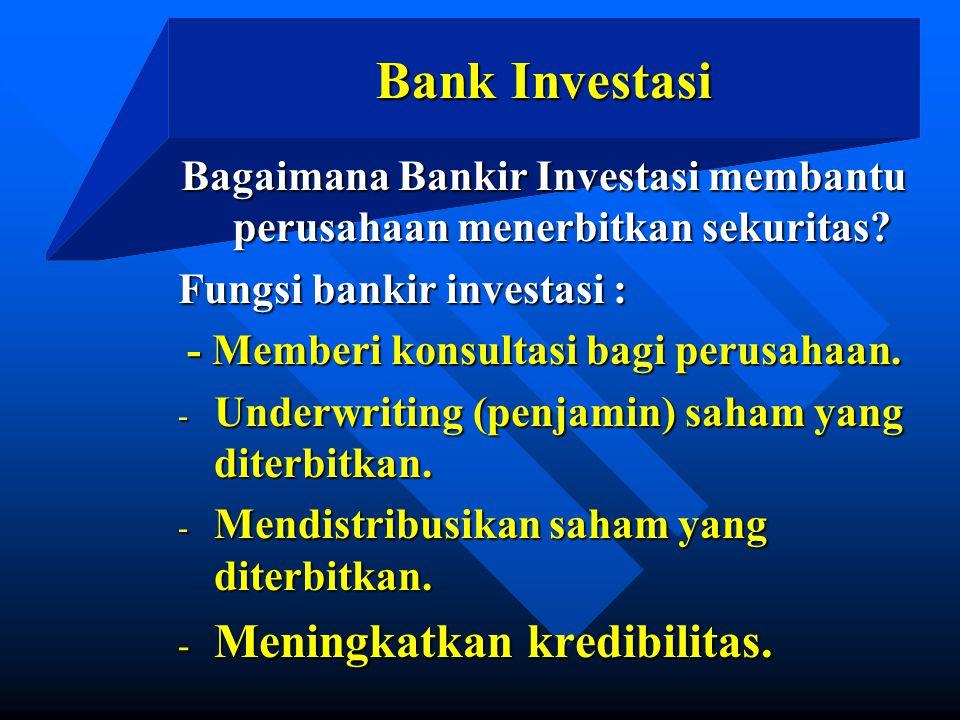 Bank Investasi Meningkatkan kredibilitas.