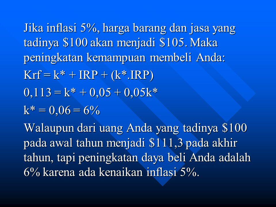 Jika inflasi 5%, harga barang dan jasa yang tadinya $100 akan menjadi $105.