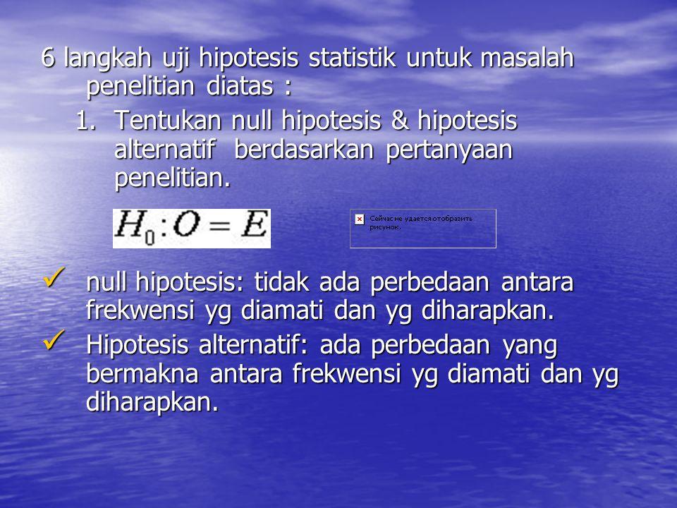 6 langkah uji hipotesis statistik untuk masalah penelitian diatas :