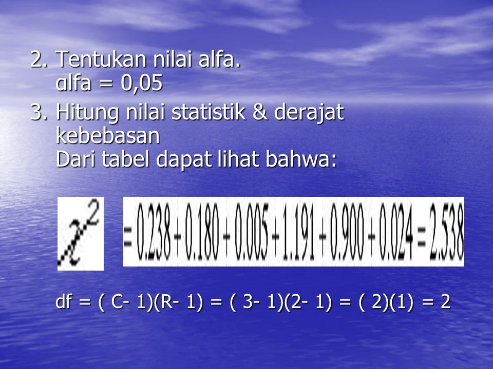 2. Tentukan nilai alfa. αlfa = 0,05