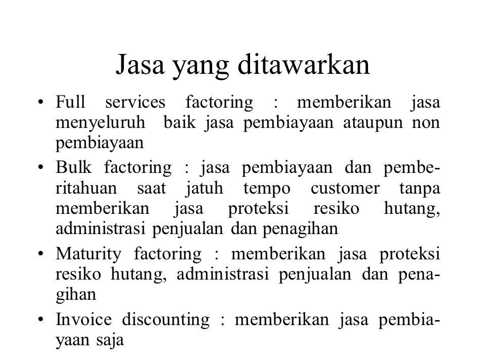 Jasa yang ditawarkan Full services factoring : memberikan jasa menyeluruh baik jasa pembiayaan ataupun non pembiayaan.