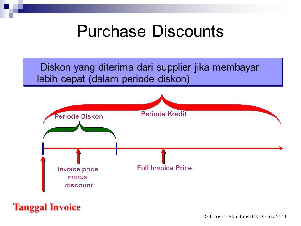 Purchase Discounts Diskon yang diterima dari supplier jika membayar lebih cepat (dalam periode diskon)