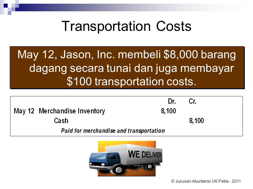 Transportation Costs May 12, Jason, Inc. membeli $8,000 barang dagang secara tunai dan juga membayar $100 transportation costs.