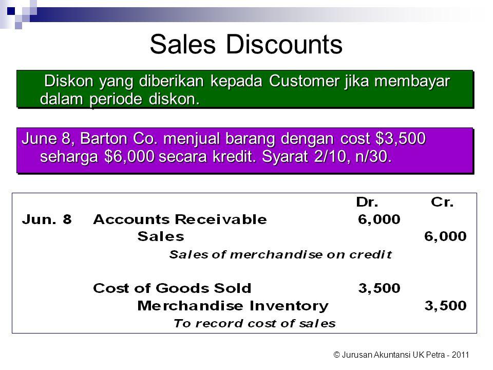 Sales Discounts Diskon yang diberikan kepada Customer jika membayar dalam periode diskon.