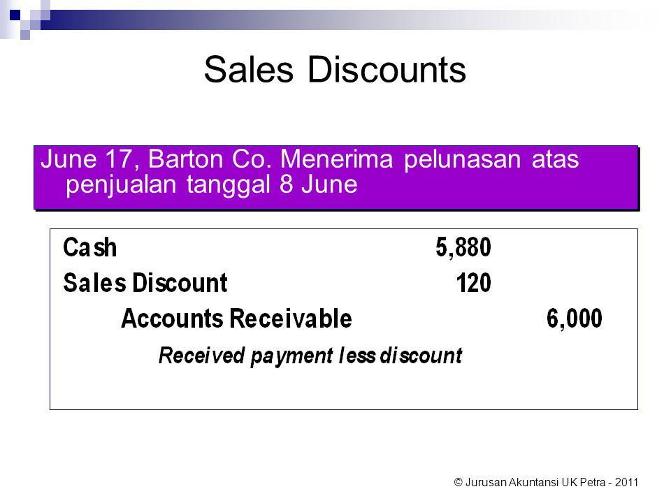 Sales Discounts June 17, Barton Co. Menerima pelunasan atas penjualan tanggal 8 June.
