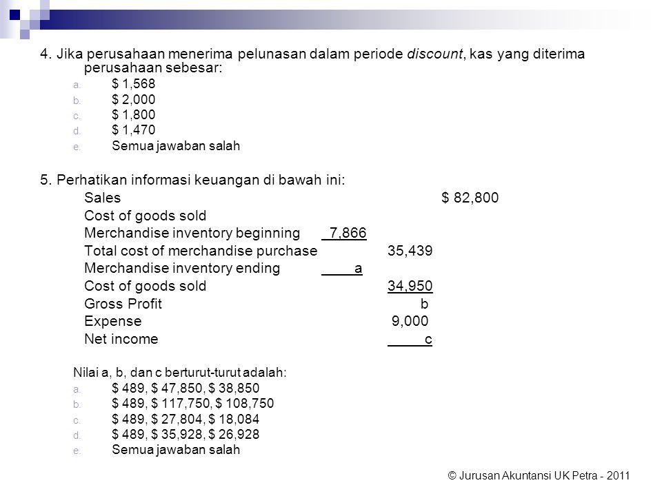 5. Perhatikan informasi keuangan di bawah ini: Sales $ 82,800