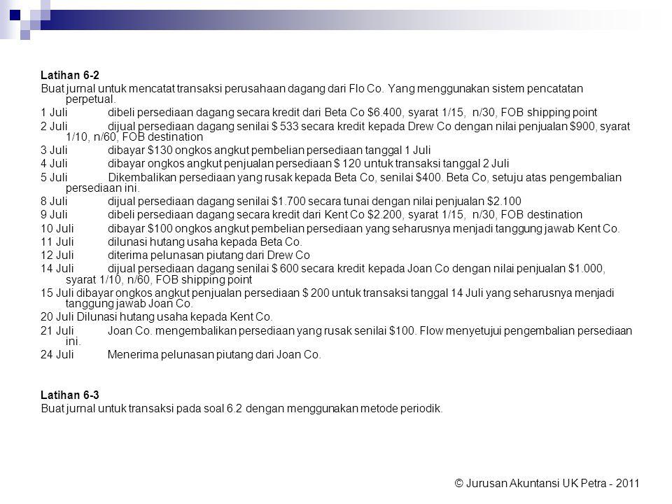 Latihan 6-2 Buat jurnal untuk mencatat transaksi perusahaan dagang dari Flo Co. Yang menggunakan sistem pencatatan perpetual.