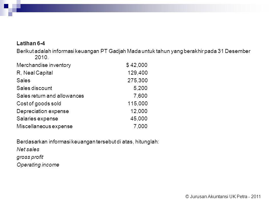 Latihan 6-4 Berikut adalah informasi keuangan PT Gadjah Mada untuk tahun yang berakhir pada 31 Desember 2010.
