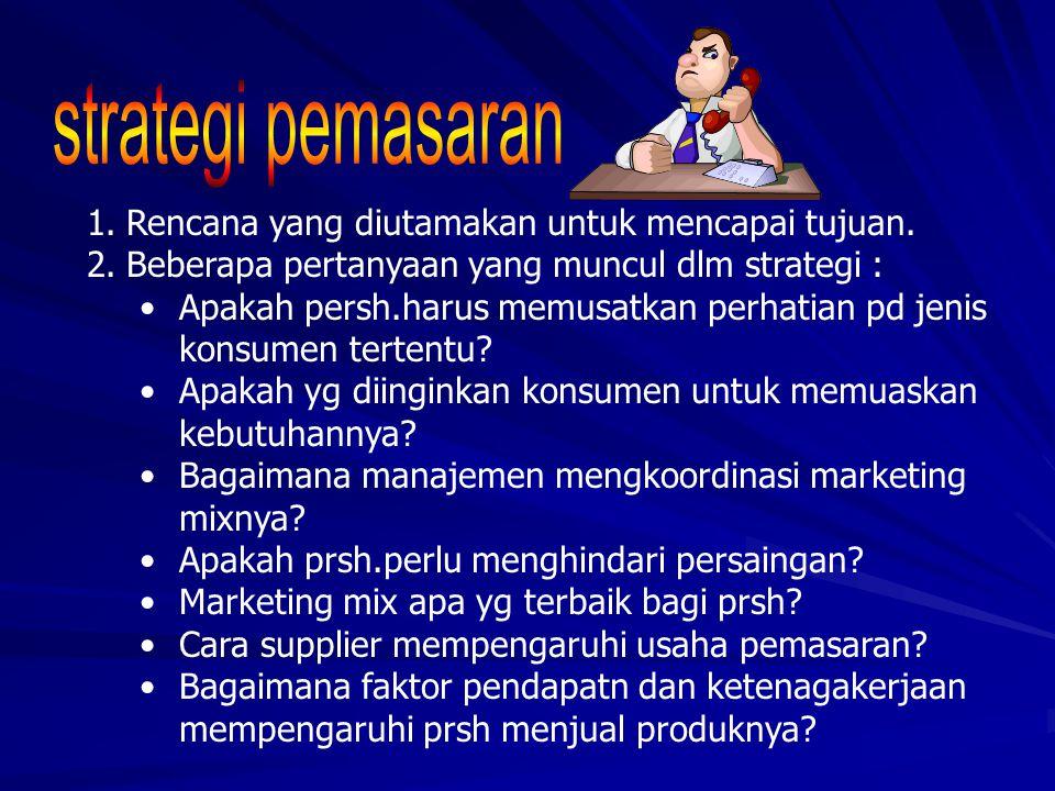 strategi pemasaran Rencana yang diutamakan untuk mencapai tujuan.