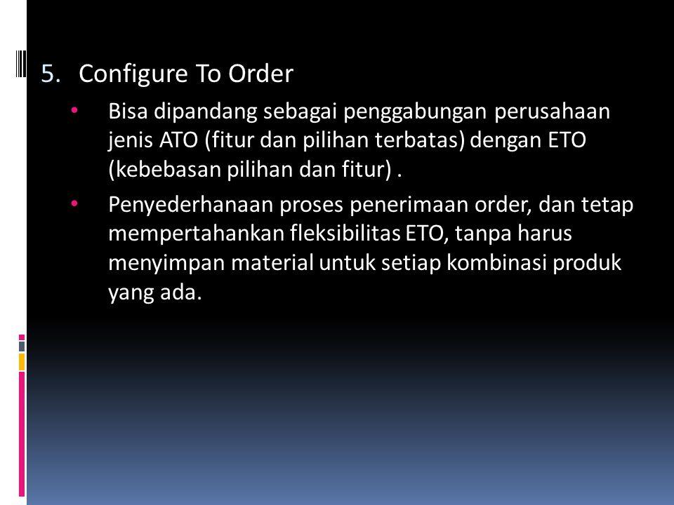 Configure To Order Bisa dipandang sebagai penggabungan perusahaan jenis ATO (fitur dan pilihan terbatas) dengan ETO (kebebasan pilihan dan fitur) .