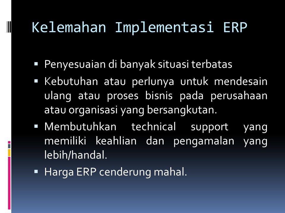 Kelemahan Implementasi ERP