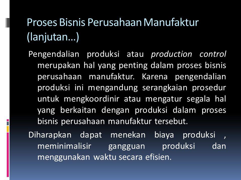 Proses Bisnis Perusahaan Manufaktur (lanjutan…)