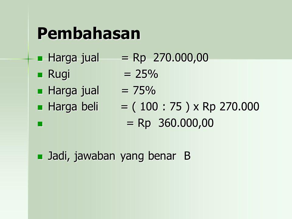 Pembahasan Harga jual = Rp 270.000,00 Rugi = 25% Harga jual = 75%