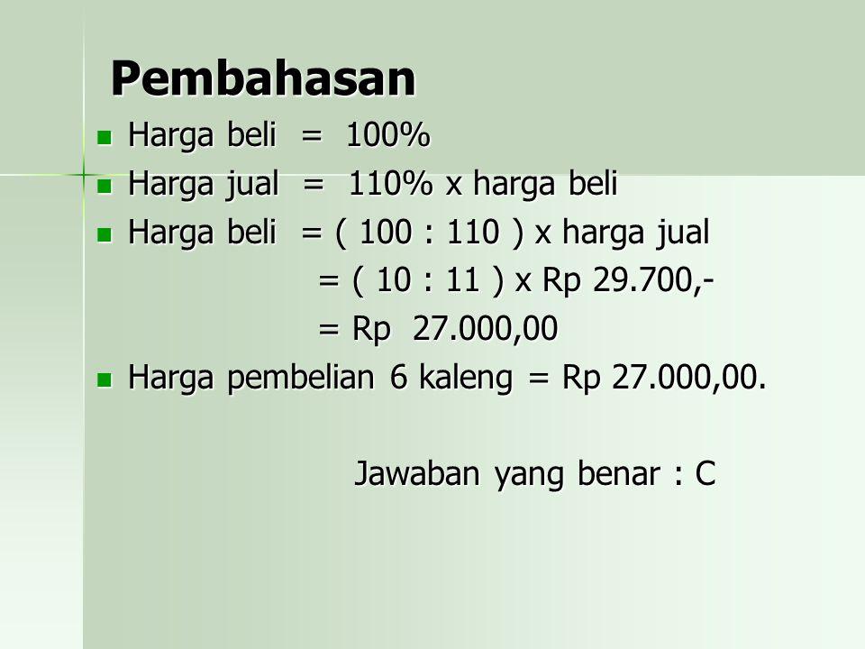 Pembahasan Harga beli = 100% Harga jual = 110% x harga beli