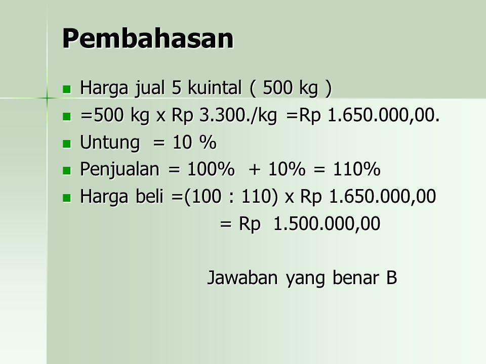 Pembahasan Harga jual 5 kuintal ( 500 kg )