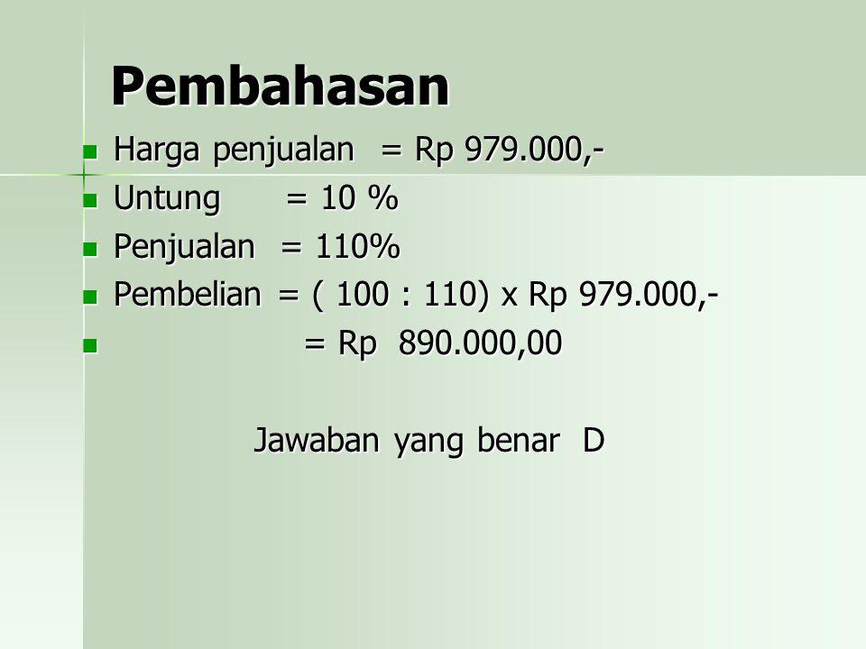 Pembahasan Harga penjualan = Rp 979.000,- Untung = 10 %